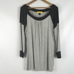 ST JOHN | soft casual 3/4 sleeve tee gray XL scoop